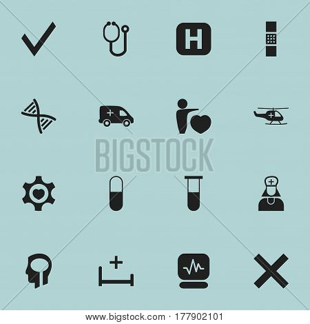 Set Of 16 Editable Health Icons. Includes Symbols Such As Mark, Analysis Container, Medical Aviation And More. Can Be Used For Web, Mobile, UI And Infographic Design.