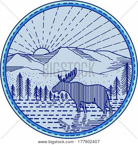 Mono line style illustration of a moose viewed from the side with river flat mountain and sunburst in the background set inside circle.