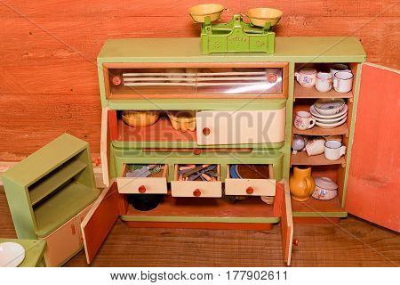 Vintage Toys For Girls. Wooden Toy Kitchen