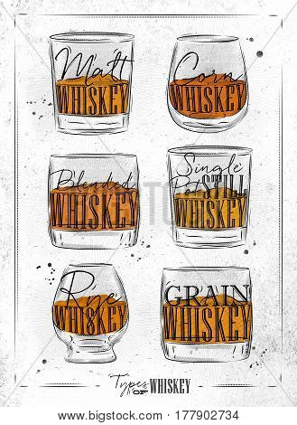 Poster types of whiskey with glasses lettering malt corn grain blended single post still rye in vintage style drawing on dirty paper background