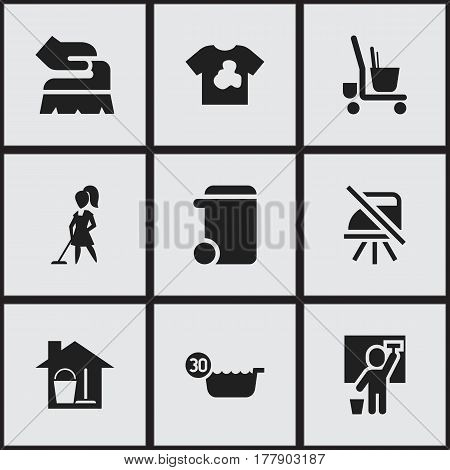 Set Of 9 Editable Cleanup Icons. Includes Symbols Such As Dustbin, Unclean Blouse, Scrub And More. Can Be Used For Web, Mobile, UI And Infographic Design.