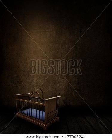 3D render of a grunge room interior with stained wall and floor and old spooky cot