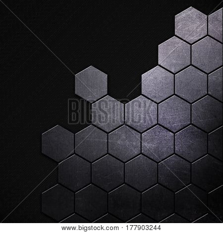 Metallic background with hexagonal shapes on a carbon fibre background