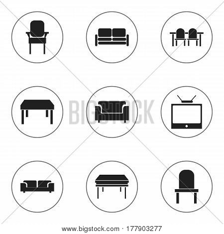 Set Of 9 Editable Interior Icons. Includes Symbols Such As Couch, Trestle, Stool And More. Can Be Used For Web, Mobile, UI And Infographic Design.