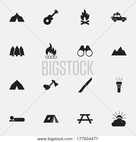 Set Of 16 Editable Travel Icons. Includes Symbols Such As Desk, Ax, Peak And More. Can Be Used For Web, Mobile, UI And Infographic Design.