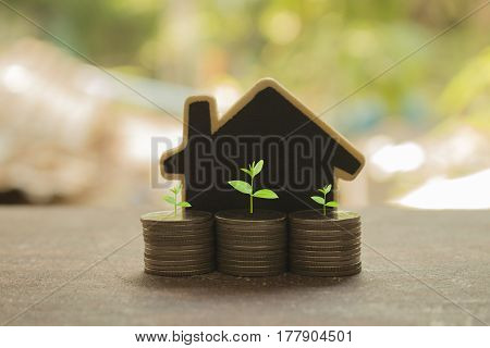 stack coins and house wood model concept idea for save and purchase house growth business