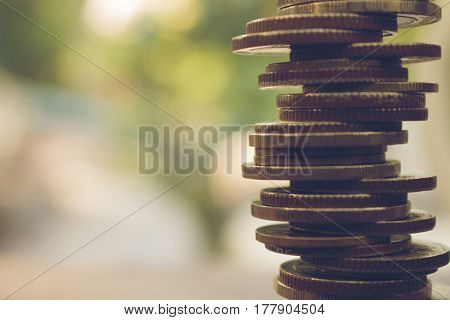 stack of coins business and finance concept .
