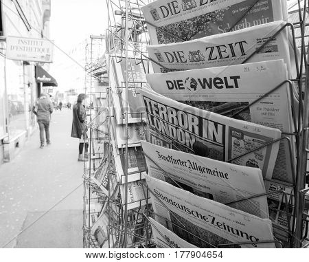PARIS FRANCE - MAR 23 2017: Terror in London headline on Bild Germany and other International newspapers at press kiosk newsstand featuring headlines following the terrorist incident in London at the Westminster Bridge