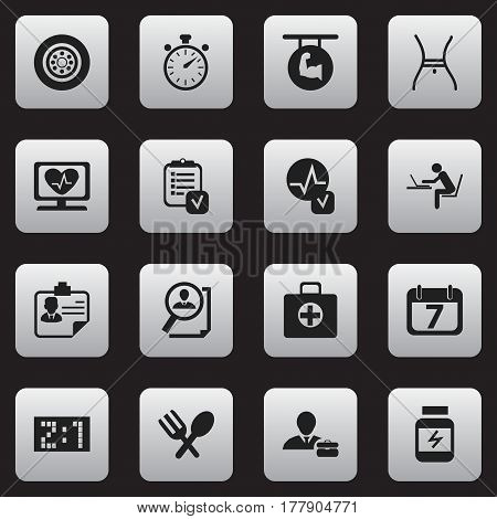 Set Of 16 Editable Complicated Icons. Includes Symbols Such As Date Block, Belly, First Aid Box And More. Can Be Used For Web, Mobile, UI And Infographic Design.