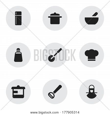 Set Of 9 Editable Meal Icons. Includes Symbols Such As Refrigerator, Soup, Cookware And More. Can Be Used For Web, Mobile, UI And Infographic Design.