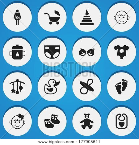 Set Of 16 Editable Kid Icons. Includes Symbols Such As Small Dresses, Pregnancy, Teddy And More. Can Be Used For Web, Mobile, UI And Infographic Design.