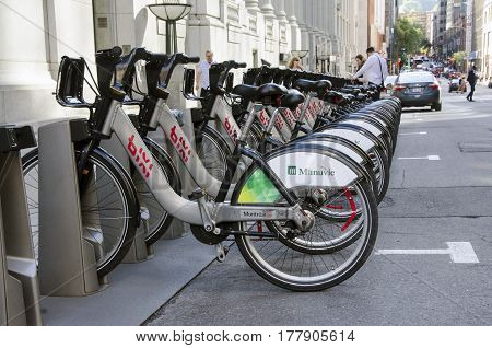 Montreal, Quebec, Canada - 18 July 2016 - Shared Bikes Are Lined Up In The Streets. First Large-scal