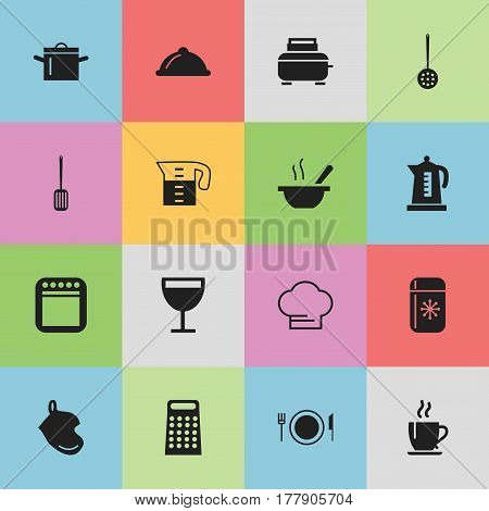 Set Of 16 Editable Cook Icons. Includes Symbols Such As Toaster, Kitchen Shovel, Plate And More. Can Be Used For Web, Mobile, UI And Infographic Design.