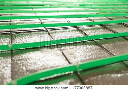 underfloor heating green pipe installation