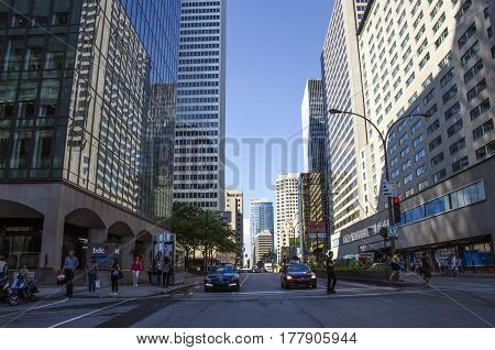 Montreal, Quebec, Canada - 18 July 2016 - Generic Street In Downtown In Montreal In Summertime. Cars