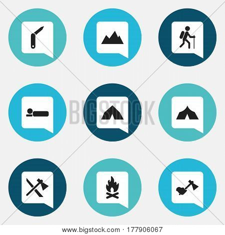 Set Of 9 Editable Travel Icons. Includes Symbols Such As Peak, Tepee, Ax And More. Can Be Used For Web, Mobile, UI And Infographic Design.