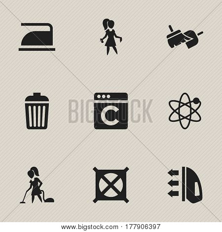 Set Of 9 Editable Cleanup Icons. Includes Symbols Such As Chores, Laundress, Steam And More. Can Be Used For Web, Mobile, UI And Infographic Design.