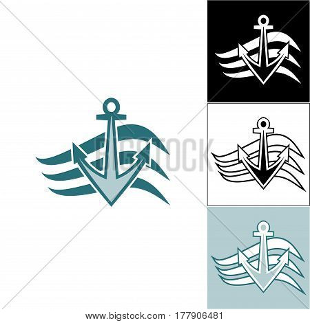 Logo anchor on the waves. Logo on the sea theme. Logos for travel agencies. Logo for travel and travelers.