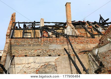 the roof after fire