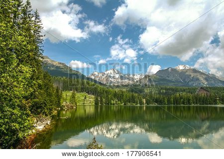 Strsbke Pleso lake in Tatra mountains in Slovakia in summer. it's one of the main landmarks of the Tatry mounts the main natural park and spot of the country