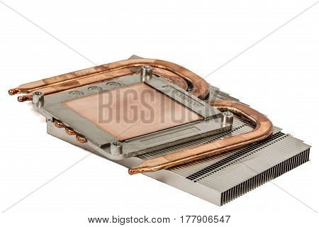 Heatpipe And Radiators For Cooling Of Processor, Cooling System, Isolated On White Background