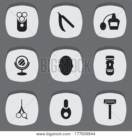 Set Of 9 Editable Hairstylist Icons. Includes Symbols Such As Peeper, Shaver, Scent And More. Can Be Used For Web, Mobile, UI And Infographic Design.