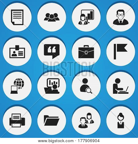 Set Of 16 Editable Bureau Icons. Includes Symbols Such As Pennant, File, Comment And More. Can Be Used For Web, Mobile, UI And Infographic Design.