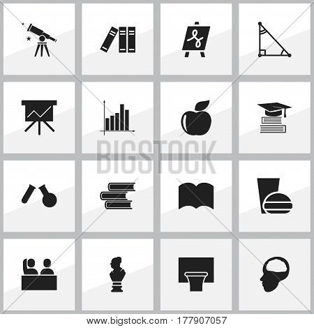 Set Of 16 Editable Education Icons. Includes Symbols Such As Cerebrum, Library, Education And More. Can Be Used For Web, Mobile, UI And Infographic Design.