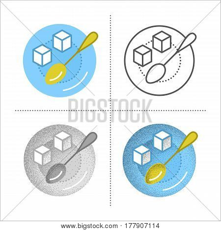 Sugar cubes with metal spoon on saucer. Set of icons in different styles: retro, flat, thin line, black and white with vintage texture. Coffee or tea ingredient. Vector illustration isolated on white