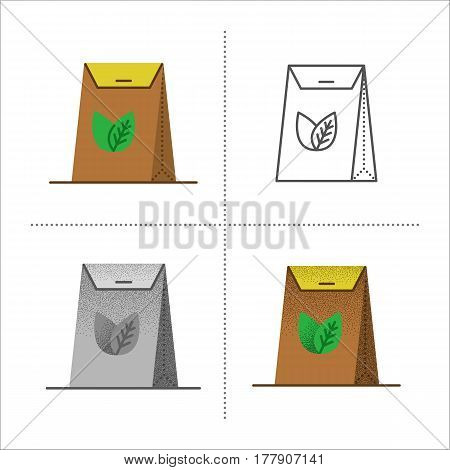 Set of brown packages with logo. Tea craft paper pack bag - icons in different styles: retro, flat, thin line, black and white with vintage texture. Vector illustration isolated on white background.