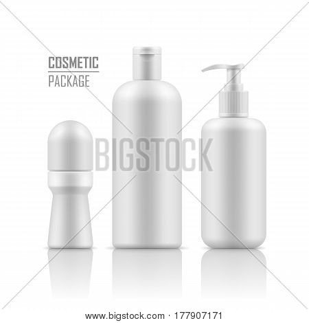 Set of empty realistic white package for cosmetic product. Collection of blank template of plastic containers: deodorant, shampoo, body cream bottle with pump. Vector mockup on white background.