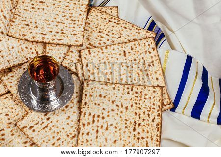 Background With Glass Of Wine And Matzo Passover Celebration