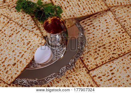 Jewish Holiday Passover Background Matzo And Wine