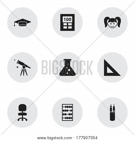 Set Of 9 Editable School Icons. Includes Symbols Such As Daughter, Work Seat, Graduate And More. Can Be Used For Web, Mobile, UI And Infographic Design.