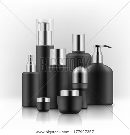 Blank templates of empty black and silver package for cosmetic products: tube and jar for cream, bottle for shampoo, soap with pump, foam, deodorant, hair spray. Realistic mockup of plastic containers
