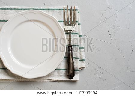 Table Setting Plate Napkin Dish Fork Top View