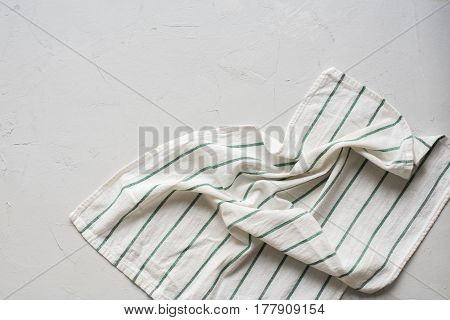 Grey Table Striped Crumpled Napkin Top View
