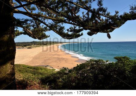 Coila beach at Tuross Head. Tuross Head is a seaside village on the south coast of New South Wales Australia.