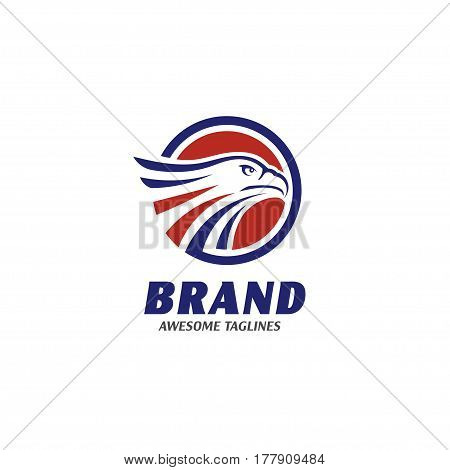 eagle heads with circle logo . creative falcon head logotype with elips, eagle head  illustration