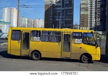City transportation on the street.March 22 ,2017 in Kiev, Ukraine