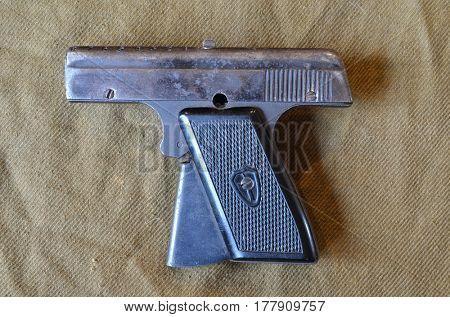 ILLUSTRATIVE EDITORIAL.Soviet vintage start-pistol of 1950-1960-th. March 23,2017,Kiev, Ukraine