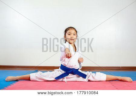 Children During Training In Karate. Fighting Position