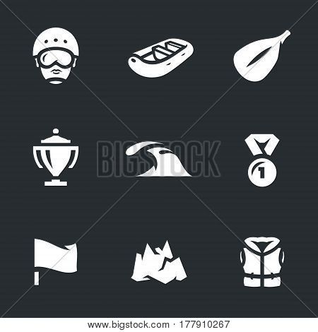Athlete, boat, paddle, cup, wave, medal, flag, mountain, life jacket.