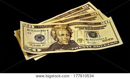 Cash money dollars bills banknotes. 10 and 20 dollar paper.
