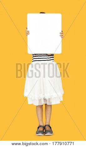 Little Girl Holding Blank Copy Space Paper Board Studio Portrait