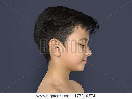 Little Boy Side View Bare Chested Smile