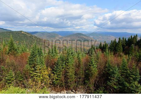 Mont Tremblant fall foliage, from top of Mont Tremblant, Quebec, Canada.
