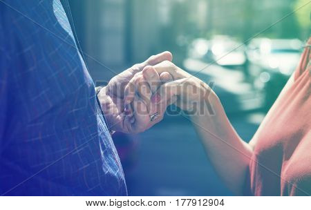Photo Gradient Style with Mature people romantic holding hands