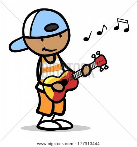 African cartoon boy with basecap playing toy guitar
