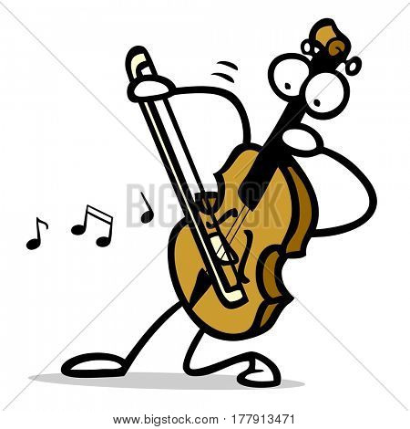 Funny cartoon violin character with arms and legs playing music
